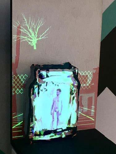 Roy Efrat, Jar, 2019, acrylic on plywood, mini HD projector, single channel video with sound, 50 x 11.8 x 19 cm