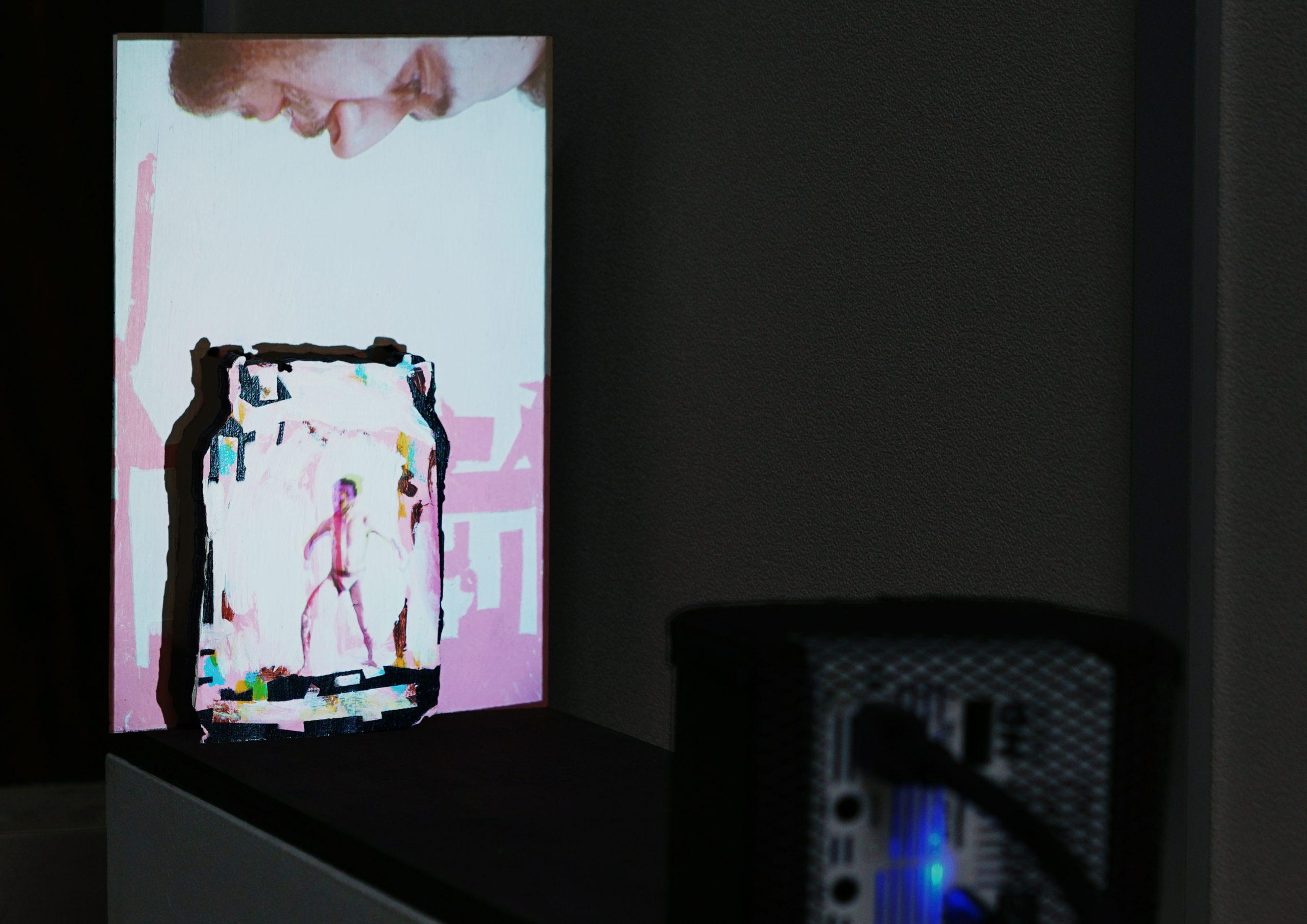 Roy Efrat, Jar, 2019, acrylic on plywood, mini HD projector, single channel video with sound, 5 0x 11.8 x 19 cm