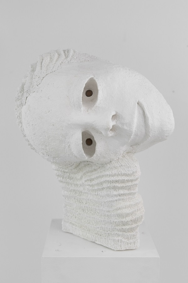 Tommy Hartung, White Devil #5, 2016, celluclay, varnish, and acorns, 48.3 x 29.2 x 34.3 cm