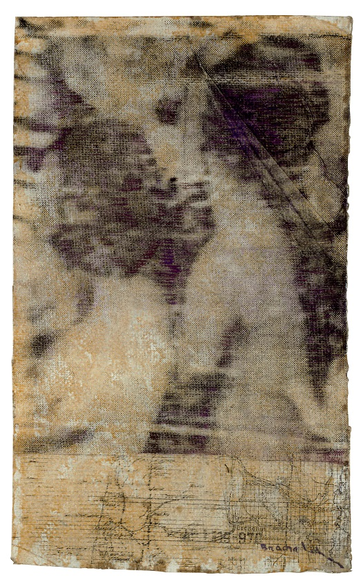 Bracha L Ettinger, Eurydice n.2, 1992-1994, oil and carbon dust on paper mounted on canvas, 38 x 23 cm