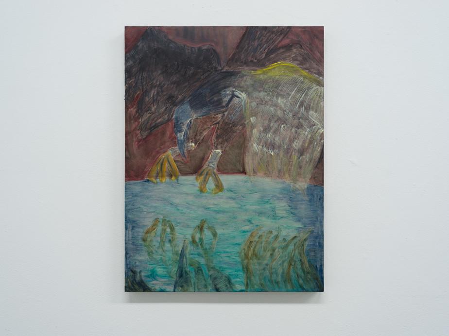 Damien H. Ding, Bird (Roc), 2019, oil on wood panel, 61 x 30.5 cm