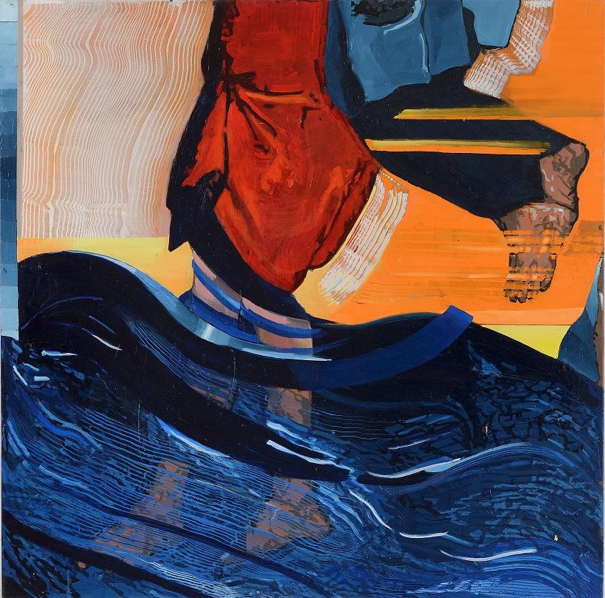 Oren Eliav, Crossing, 2020, oil on canvas, composed of 4 panels, 150 x 150 cm each (2 of 4)