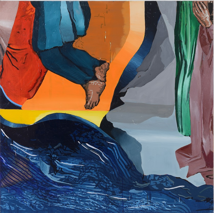 Oren Eliav, Crossing, 2020, oil on canvas, composed of 4 panels, 150 x 150 cm each (3 of 4)