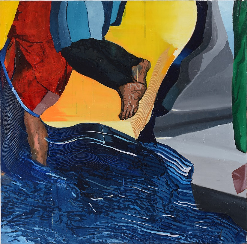 Oren Eliav, Crossing, 2020, oil on canvas, composed of 4 panels, 150 x 150 cm each (4 of 4)