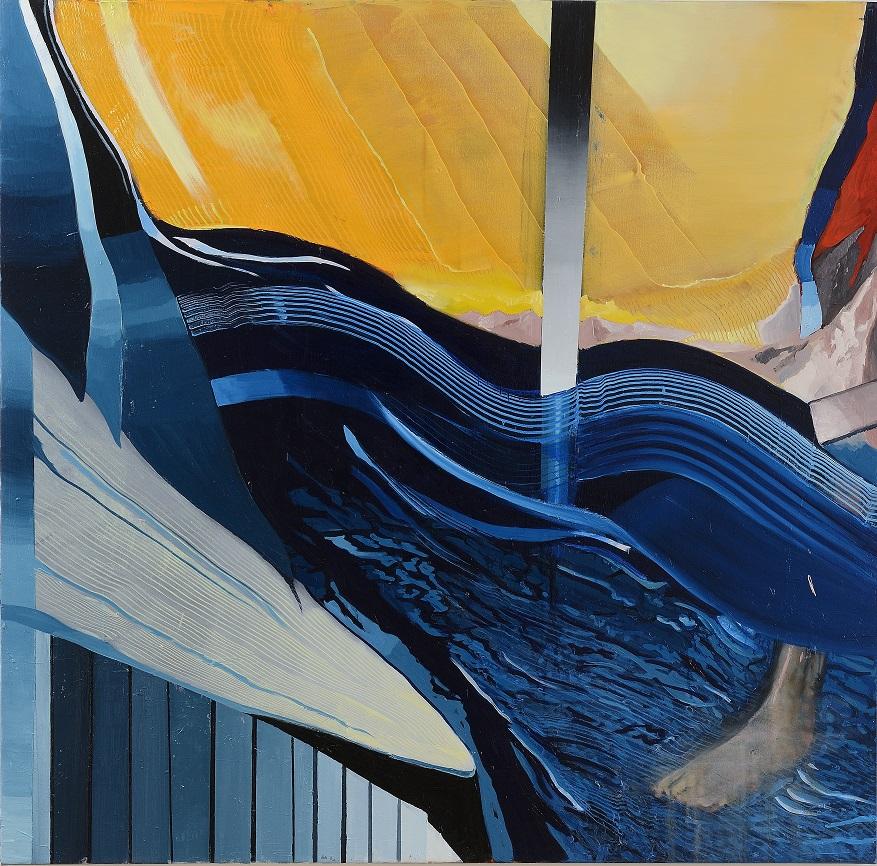 Oren Eliav, Crossing, 2020, oil on canvas, cmposed of 4 panels, 150 x 150 cm each (1 of 4)