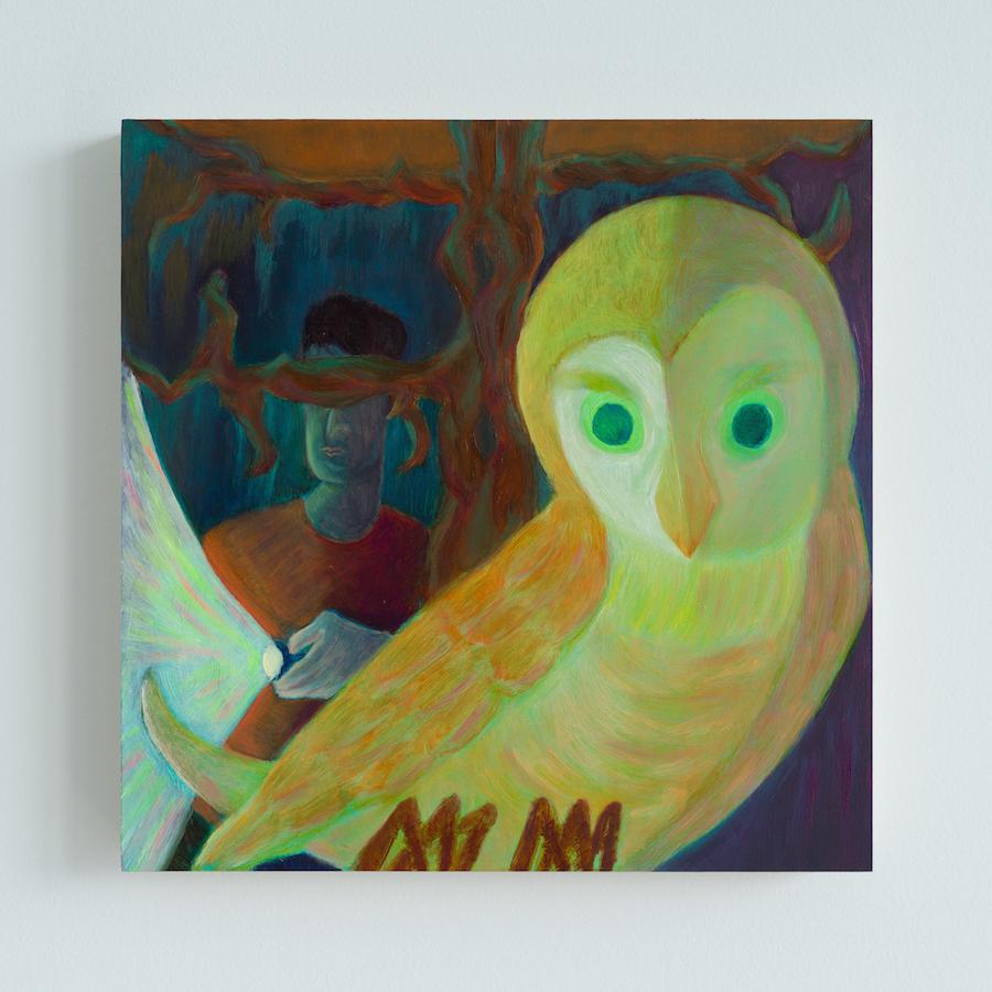 Damien H. Ding, Owl, 2020, oil on panel, 20.3 x 20.3 cm