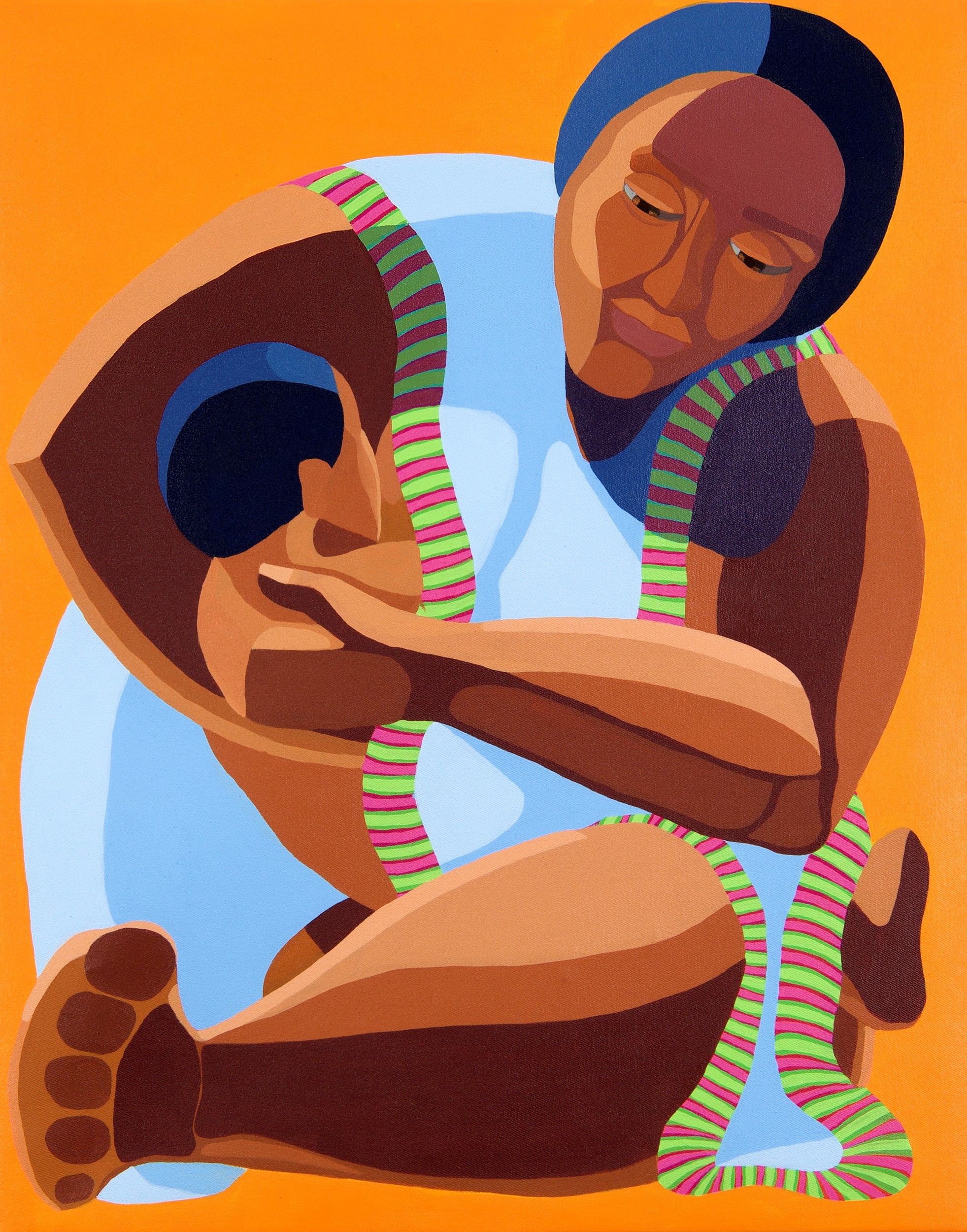 Nirit Takele, Mother with a child, 70x55 cm, acrylic on canvas, 2018