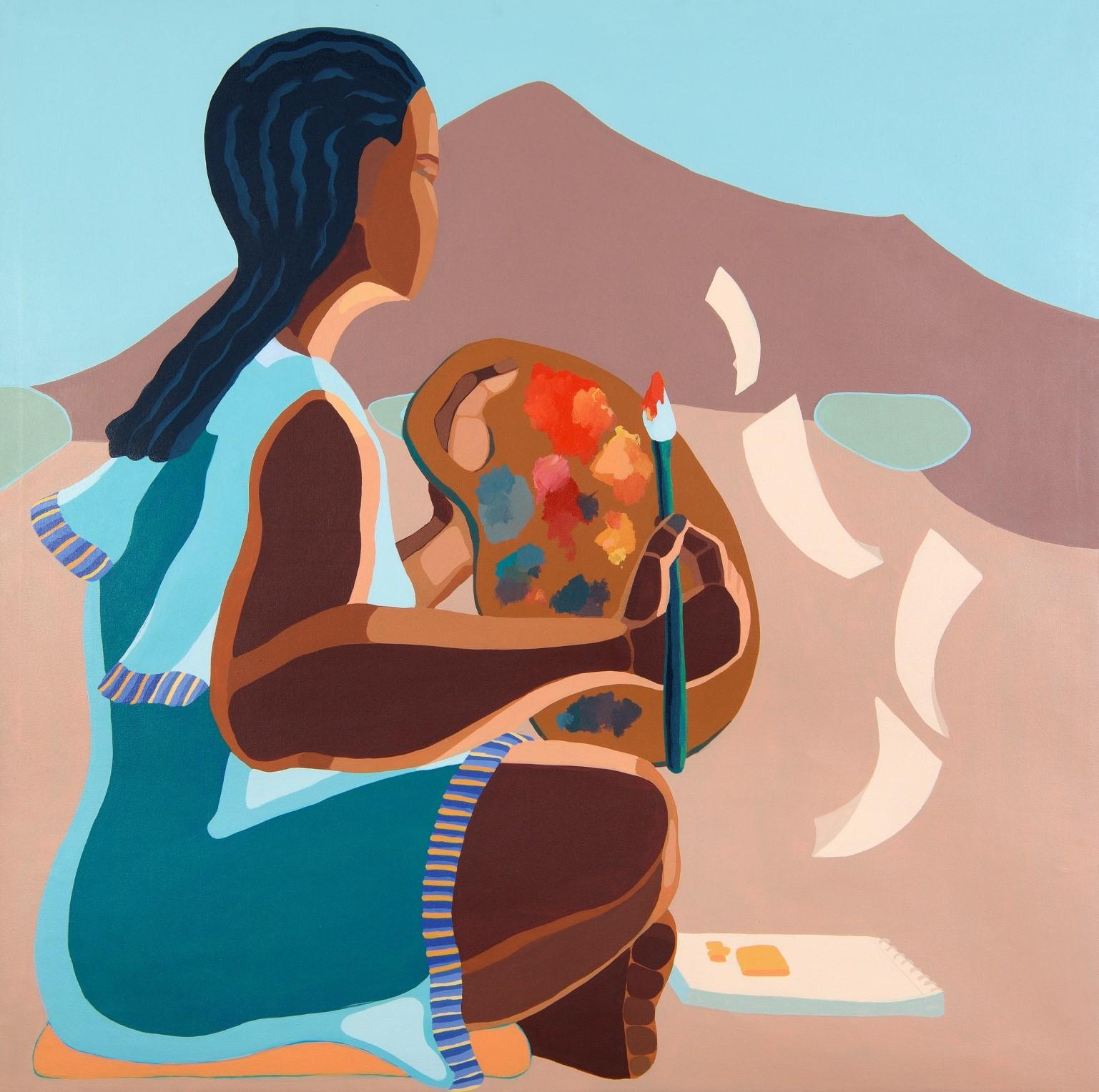 Nirit Takele, Looking towards Mount Israel, 100x100 cm, acrylic on canvas, 2018