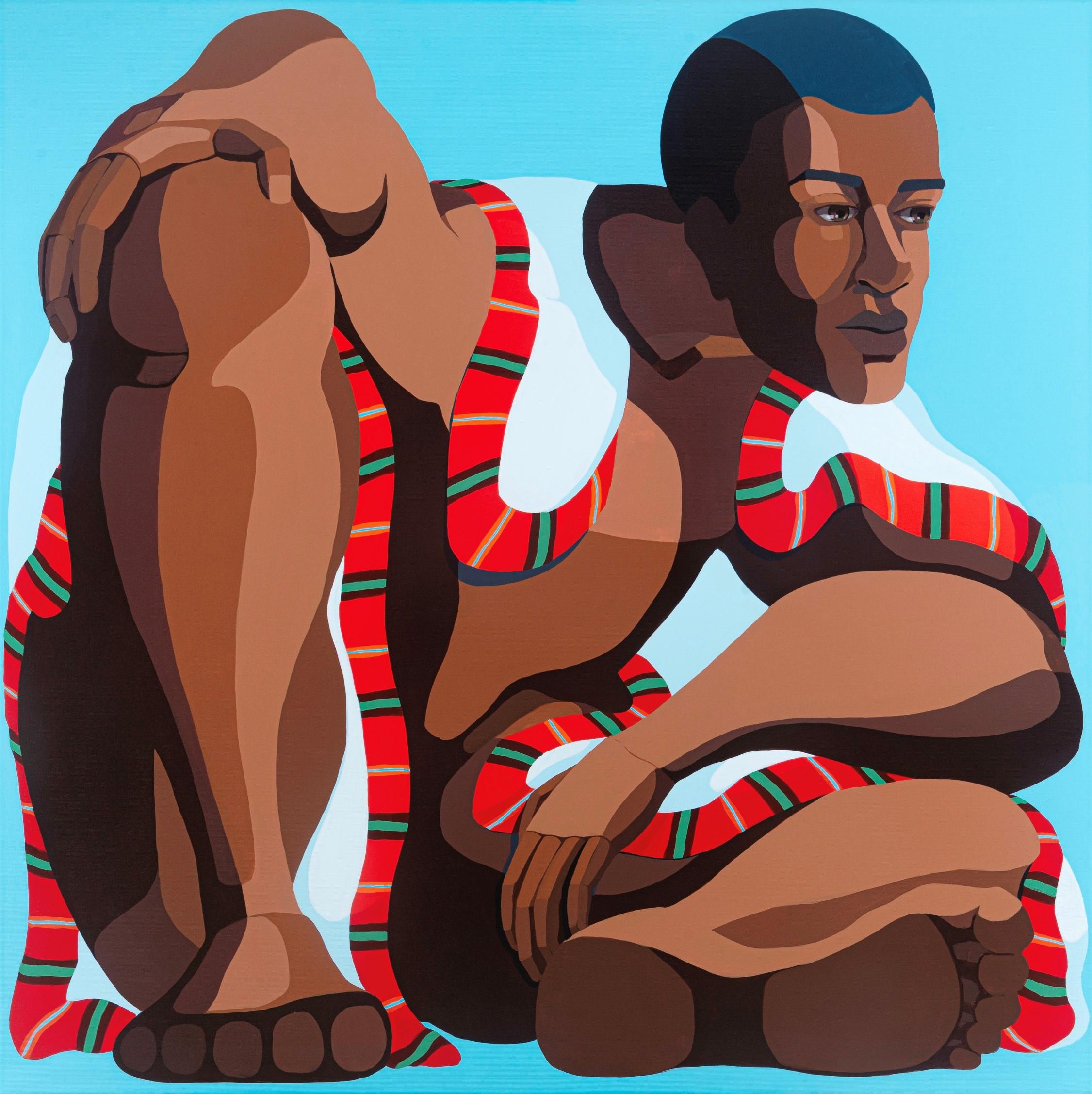 Nirit Takele, Big Man, 100x100 cm, acrylic on canvas, 2020