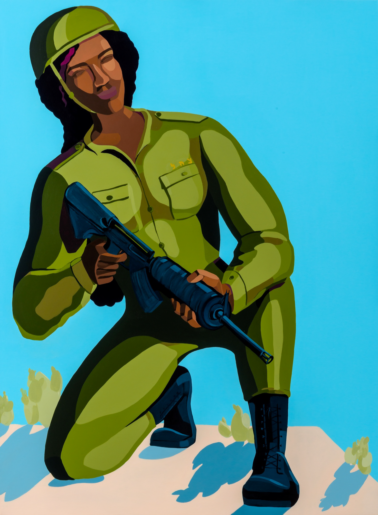 Nirit Takele, Soldier 5328991, 110x80.5 cm, acrylic on canvas, 2019