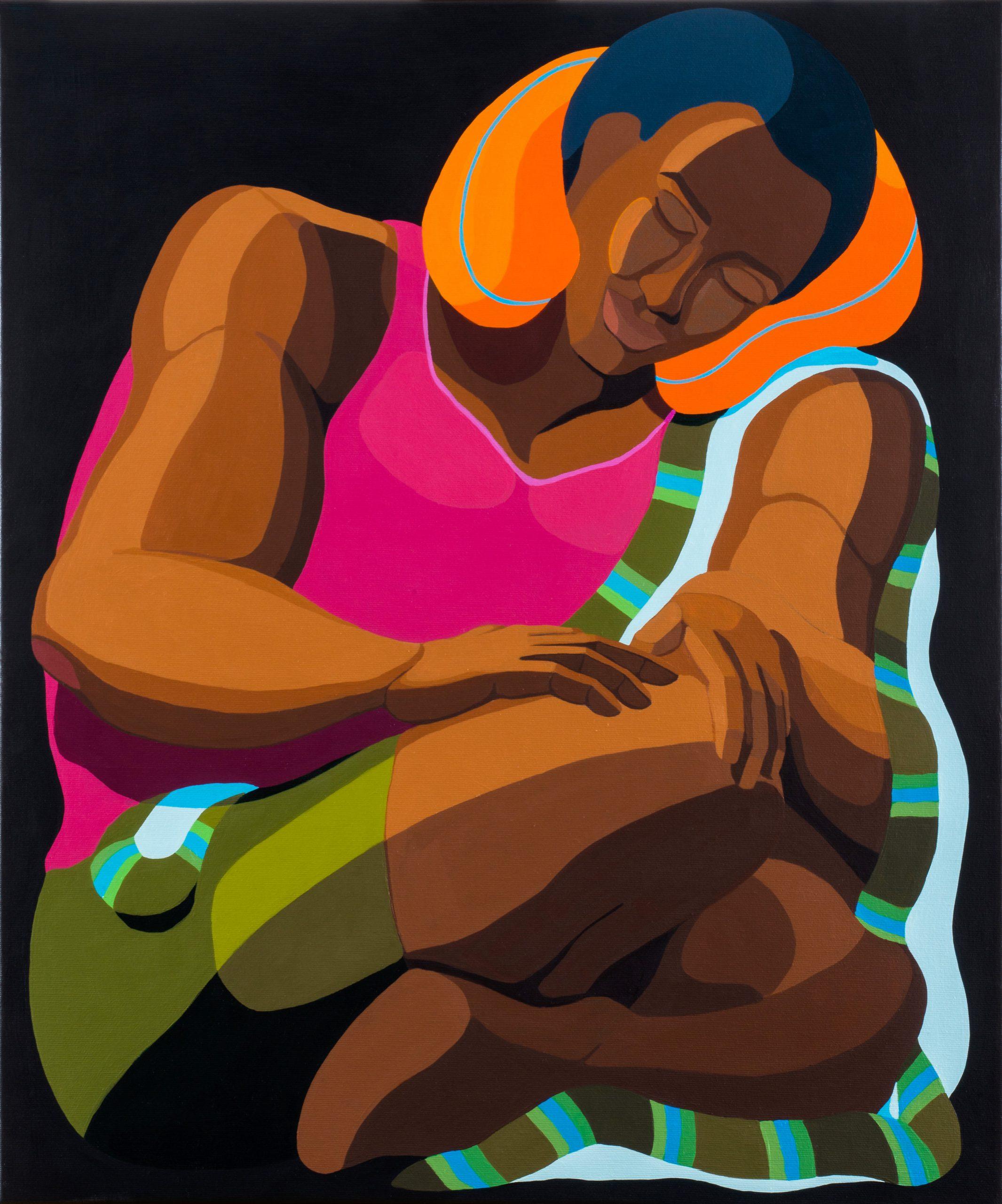 Nirit Takele, Lean on Travel pillow, 60x50 cm, acrylic on canvas, 2020