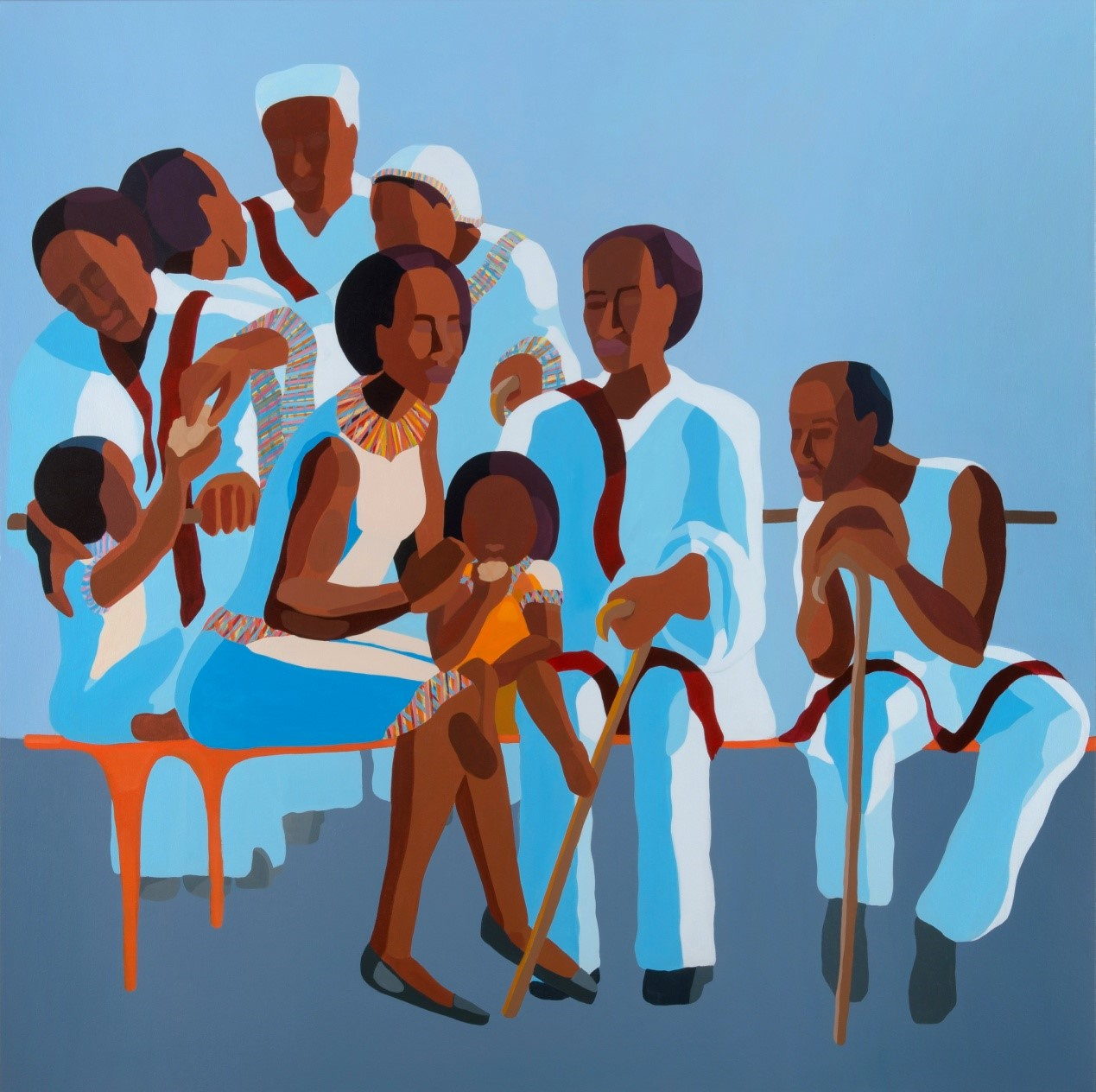 Nirit Takele, Saturday after prayer, 150x150 cm, acrylic on canvas, 2017