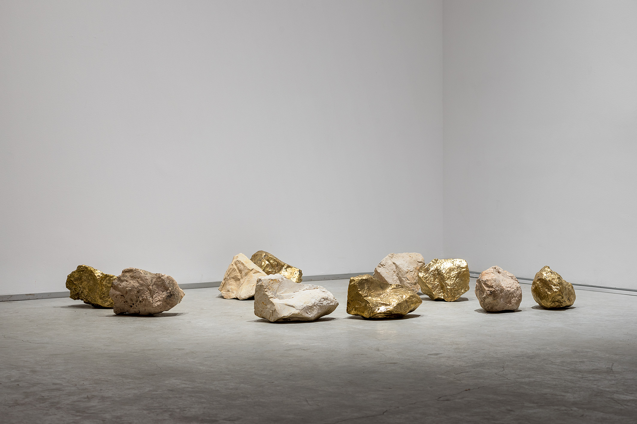 Sweet stone, 2018-2021, five lime stones and their five brass replicas