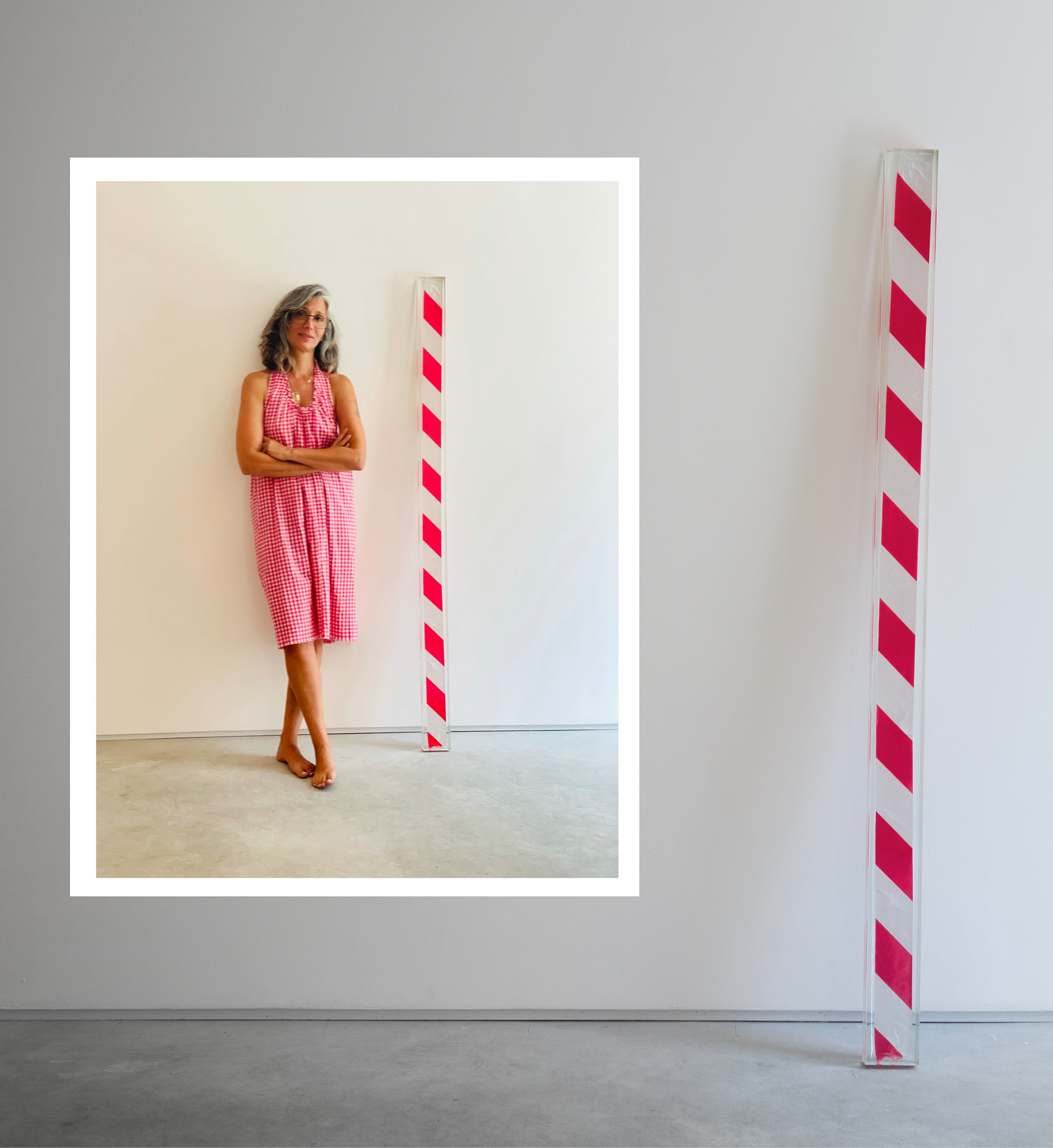 IT'S PERSONAL 2020,171x10 cm, Epoxy mold, red and white tape.